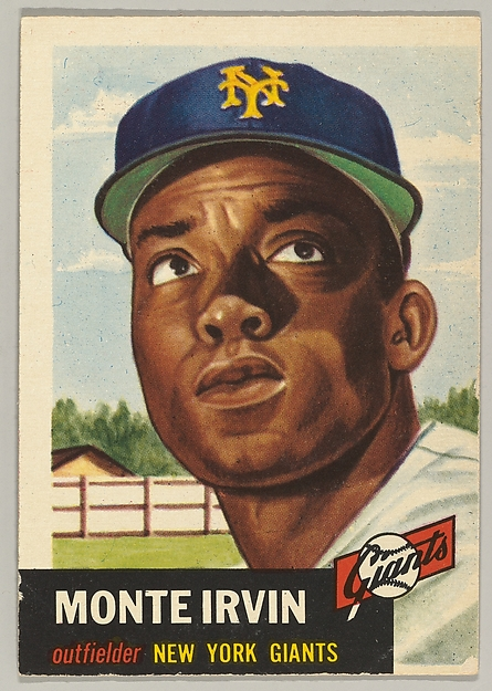 Card Number 62, Monte Irvin, Outfielder, New York Giants, from the series Topps Dugout Quiz (R414-7), issued by Topps Chewing Gum Company, Issued by Topps Chewing Gum Company (American, Brooklyn), Commercial color lithograph