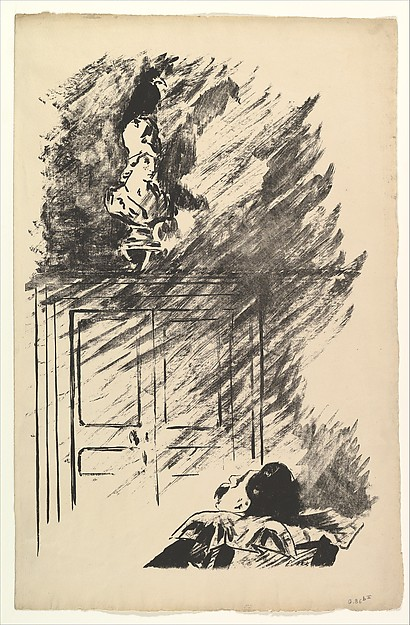 Perched upon a Bust of Pallas. Illustration to The Raven by Edgar Allan Poe, Édouard Manet (French, Paris 1832–1883 Paris), Transfer lithograph on laid (Hollande) paper, final state of two