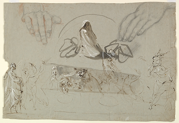 Studies of Fairies with a Pair of Hands (possibly representing the Opening of Pandora's Box), William Lock the Younger (British, 1767–1847), Graphite and red chalk, pen and brown ink, brush and gray wash, and white gouache