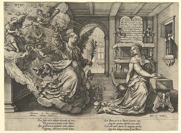 Annunciation, Hendrick Goltzius (Netherlandish, Mühlbracht 1558–1617 Haarlem), Engraving