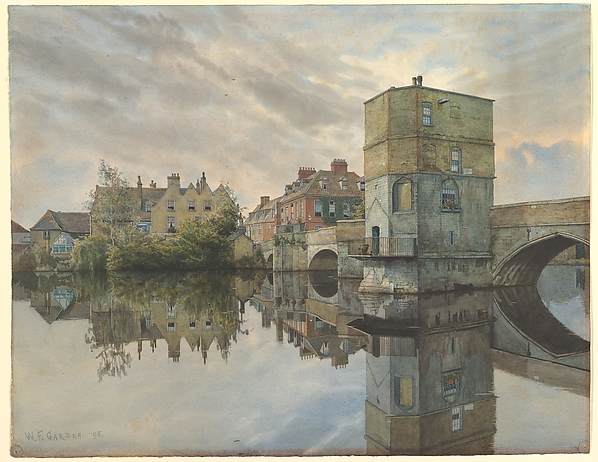 St. Ives Bridge, St. Ives, Huntingdonshire, William Fraser Garden (British, Chatham 1856–1921 Huntingdon (?)), Watercolor, pen and gray ink, and touches of gouache over graphite on paper