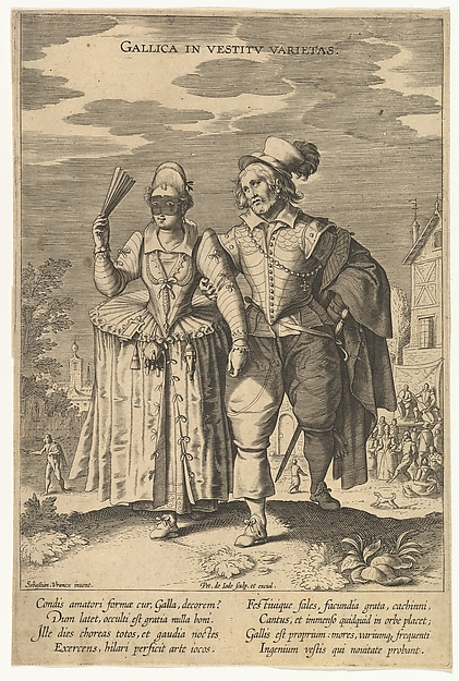 Gallica in Vestitu Varietas, from Fashions of Different Nations, Pieter de Jode I (Netherlandish, Antwerp 1570–Antwerp 1634), Engraving; first state of two