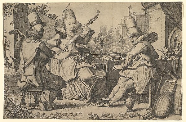 Two Elegantly Dressed Men and a Woman in a Garden, Jan van de Velde II (Dutch, Rotterdam or Delft ca. 1593–1641 Enkhuizen), Etching and engraving