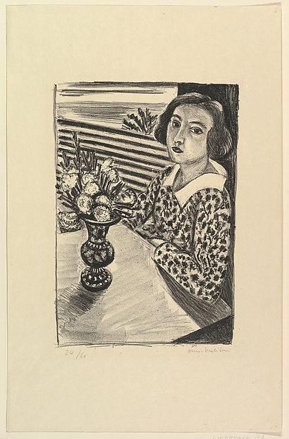 Seated Young Woman with a Bouquet of Flowers, Henri Matisse (French, Le Cateau-Cambrésis 1869–1954 Nice), Lithograph