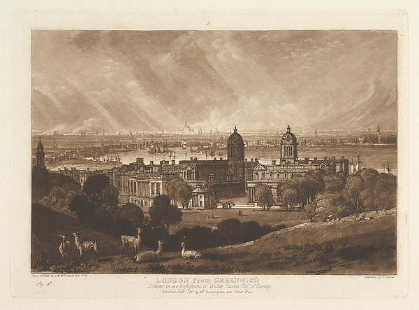 London from Greenwich (Liber Studiorum, part V, plate 26), Designed and etched by Joseph Mallord William Turner (British, London 1775–1851 London), Etching and mezzotint; first state of four