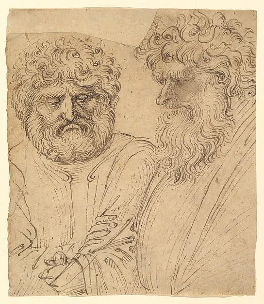 Two Heavily Bearded Men, Circle of Stefano da Verona (Stefano di Giovanni d'Arbosio di Francia) (Italian, Paris or Pavia ca. 1374/75–after 1438 Verona), Pen and brown ink