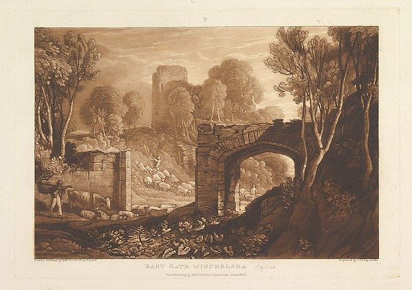 East Gate, Winchelsea, Sussex (Liber Studiorum, part XIV, plate 67), Designed and etched by Joseph Mallord William Turner (British, London 1775–1851 London), Etching and mezzotint; second state of four