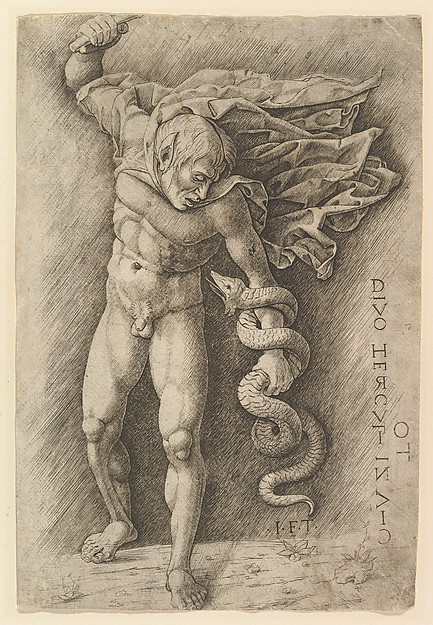 Hercules and the Hydra, School of Andrea Mantegna (Italian, Isola di Carturo 1430/31–1506 Mantua), Engraving