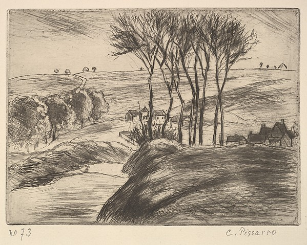 Landscape at Osny (Paysage à Osny), Camille Pissarro (French, Charlotte Amalie, Saint Thomas 1830–1903 Paris), Etching and drypoint on laid paper; first state of two