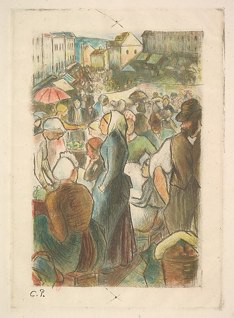 The Market at Gisors: Rue Cappeville, Camille Pissarro (French, Charlotte Amalie, Saint Thomas 1830–1903 Paris), Etching and drypoint printed in color on laid paper; seventh state of seven; posthumous impression
