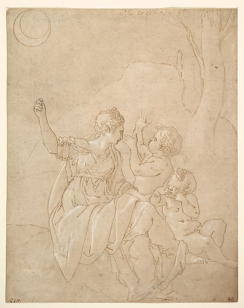 Classical Female Figure (Diana or Venus) with Two Infants., Francesco Primaticcio (Italian, Bologna 1504/5–1570 Paris), Pen and brown ink, highlighted with white gouache, over traces of black chalk, stylus and compass construction; traces of squaring in black chalk