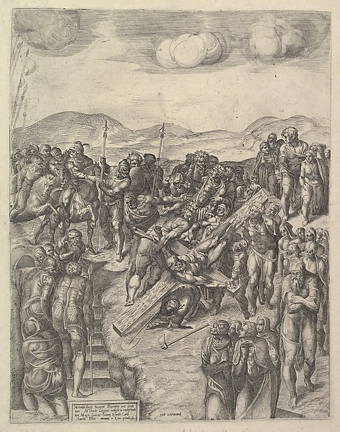 The Crucifixion of St Peter (after Michelangelo's Frescoes in the Pauline Chapel, Vatican Palace), Michele Lucchese (Italian, active Rome, 1534–64), Etching and Engraving