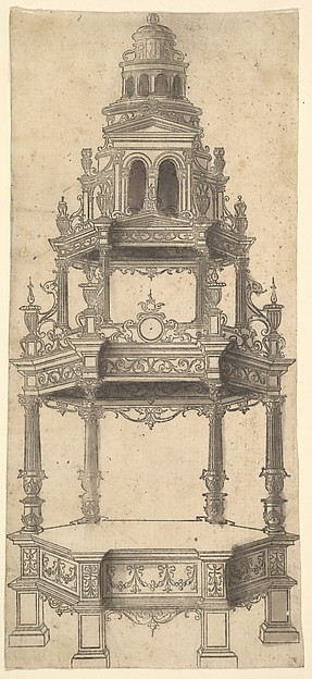 Hexagonal Raised Platform with an Architecturally-Shaped Canopy, Anonymous, French, 16th century, Etching with grey wash