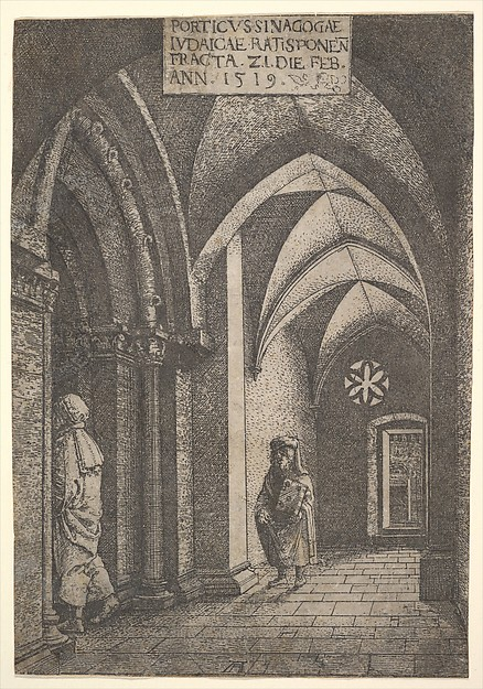 The Entrance Hall of the Regensburg Synagogue, Albrecht Altdorfer (German, Regensburg ca. 1480–1538 Regensburg), Etching