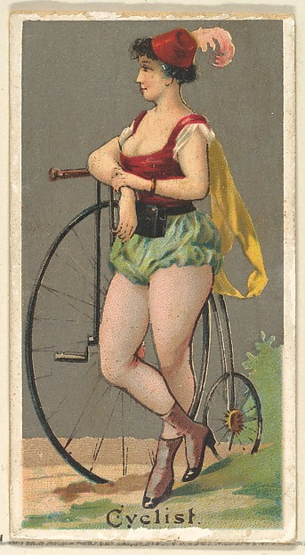 Cyclist, from the Occupations for Women series (N166) for Old Judge and Dogs Head Cigarettes, Issued by Goodwin & Company, Commercial color lithograph