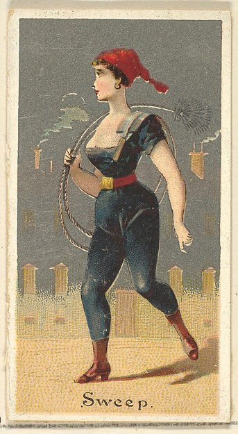 Sweep, from the Occupations for Women series (N166) for Old Judge and Dogs Head Cigarettes, Issued by Goodwin & Company, Commercial color lithograph