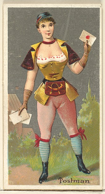 Postman, from the Occupations for Women series (N166) for Old Judge and Dogs Head Cigarettes, Issued by Goodwin & Company, Commercial color lithograph