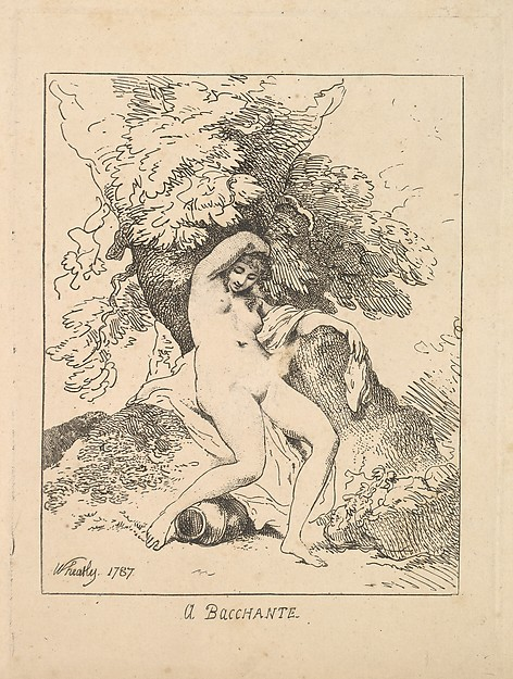 A Bacchante, Thomas Rowlandson (British, London 1757–1827 London), Etching and stipple