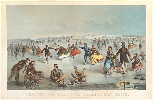 Skating in Central Park, New York, Winslow Homer (American, Boston, Massachusetts 1836–1910 Prouts Neck, Maine), Color lithograph with hand coloring