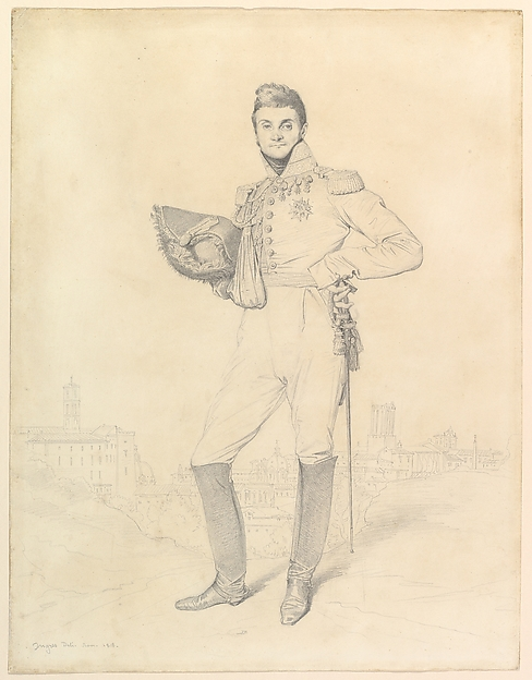 General Louis-Étienne Dulong de Rosnay, Jean Auguste Dominique Ingres (French, Montauban 1780–1867 Paris), Graphite (hard and soft pencils) on wove paper with slightly browned edges