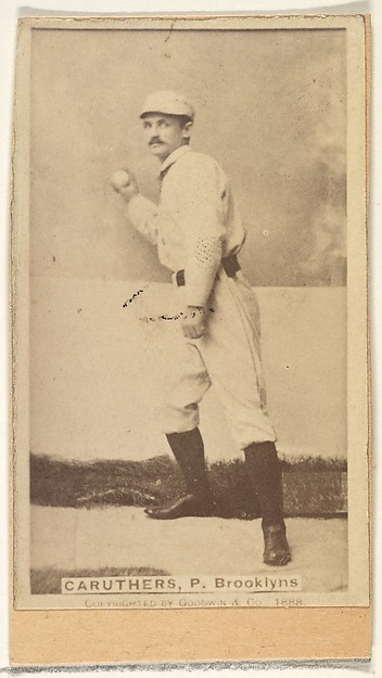 Caruthers, Pitcher, Brooklyn, from the Old Judge series (N172) for Old Judge Cigarettes, Issued by Goodwin & Company, Albumen photograph