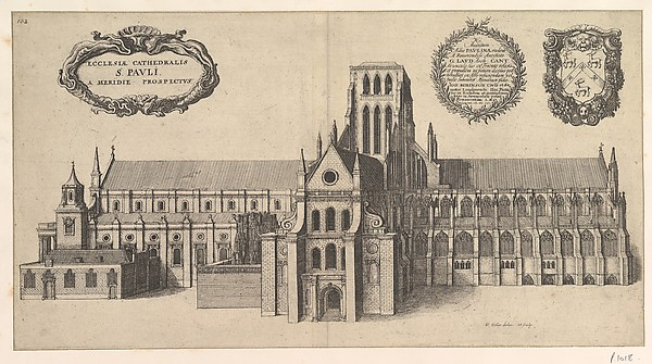Saint Paul's, South side (Ecclesiae Cathedralis St. Pauli, A Meridi Prospectus), Wenceslaus Hollar (Bohemian, Prague 1607–1677 London), Etching; first state of two
