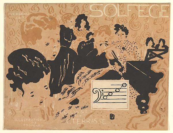 """Preliminary cover design for """"Petit Solfège illustré"""", Pierre Bonnard (French, Fontenay-aux-Roses 1867–1947 Le Cannet), Lithograph"""