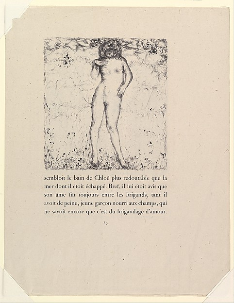 """Chloe Bathing, from """"Daphnis and Chloe"""" by Longus, Pierre Bonnard (French, Fontenay-aux-Roses 1867–1947 Le Cannet), Lithograph; proof impression"""