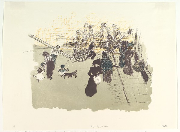 Street Corner, Pierre Bonnard (French, Fontenay-aux-Roses 1867–1947 Le Cannet), Lithograph in four colors on cream wove paper