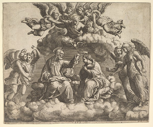 The coronation of the Virgin, Christ holding the crown over her head, God the Father  blessing above, Master of the Die (Italian, active Rome, ca. 1530–60), Engraving