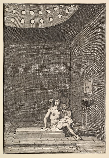 "A Turkish Bath (Aubry de La Motraye's ""Travels throughout Europe, Asia and into Part of Africa...,""  London, 1724, vol. I, pl. 10), William Hogarth (British, London 1697–1764 London), Etching and engraving"