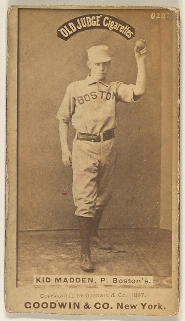Kid Madden, Pitcher, Boston, from the Old Judge series (N172) for Old Judge Cigarettes, Issued by Goodwin & Company, Albumen photograph