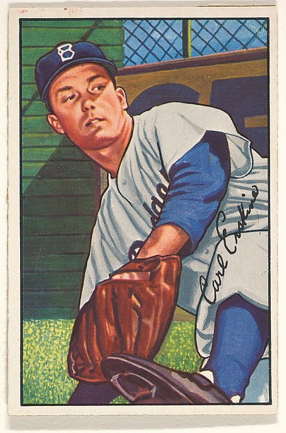 Carl Erskine, Pitcher, Brooklyn Dodgers, from Picture Cards, series 6 (R406-6) issued by Bowman Gum, Issued by Bowman Gum Company, Commerical color lithograph