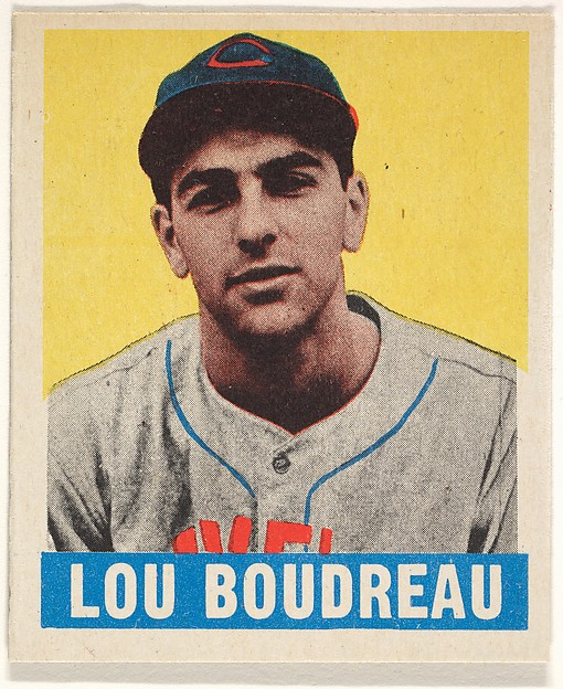 Lou Boudreau, Cleveland Indians, from the All-Star Baseball series (R401-1), issued by Leaf Gum Company, Leaf Gum, Co., Chicago, IL, Commercial Chromolithograph