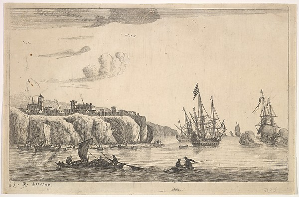 Seaport with Village on a Cliff, Reinier Nooms, called Zeeman (Dutch, Amsterdam ca. 1623–1664 Amsterdam), Etching