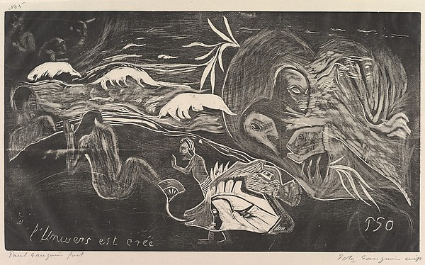 The Universe is Created (L'Univers est créé), from Fragrance (Noa Noa), Paul Gauguin (French, Paris 1848–1903 Atuona, Hiva Oa, Marquesas Islands), Woodcut on china paper