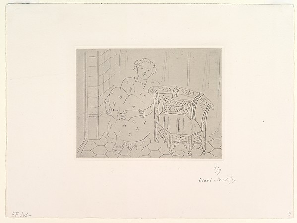 Crouching Figure Next to an Oriental Chair, Henri Matisse (French, Le Cateau-Cambrésis 1869–1954 Nice), Etching on chine collé