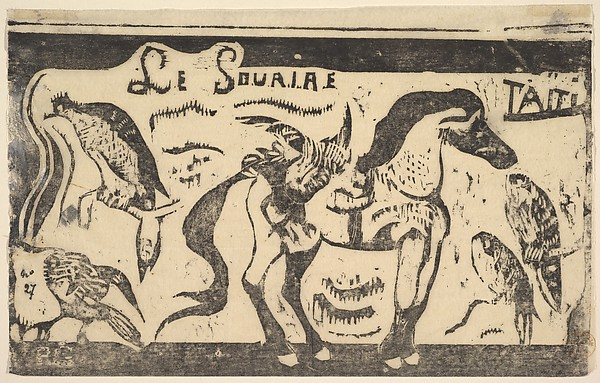 Le Sourire;Taiti (Smile; Tahiti), Paul Gauguin (French, Paris 1848–1903 Atuona, Hiva Oa, Marquesas Islands), woodcut on transparent laid tissue paper