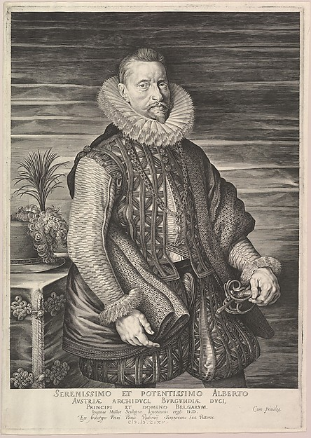 Portrait of Albert, Archduke of Austria, Sovereign of Southern Netherlands, Jan Muller (Netherlandish, Amsterdam 1571–1628 Amsterdam), Engraving; fourth state of four (Hollstein)