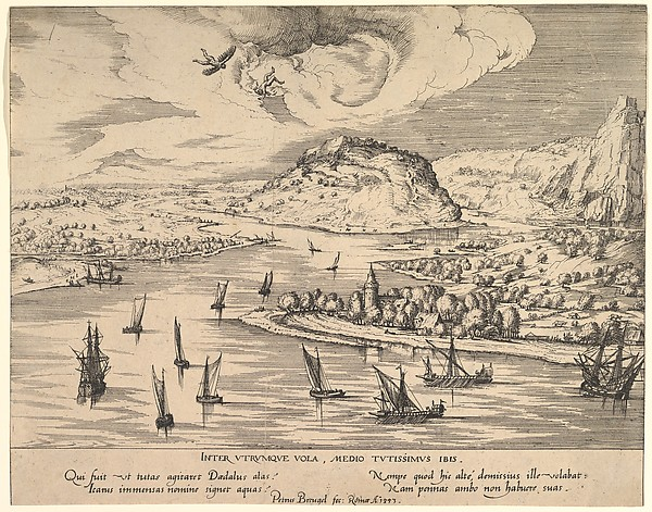 River Landscape with Daedalus and Icarus, Attributed to Simon Novellanus (16th century), Etching; first state of two