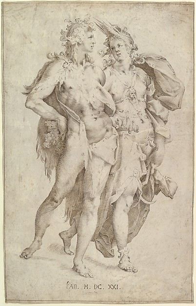 Ceres and Bacchus, Anonymous, Dutch, 17th century (?), Pen and brown and dark brown ink