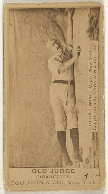 """William """"Buck"""" Ewing, Captain and Catcher, New York, from the Old Judge series (N172) for Old Judge Cigarettes, Issued by Goodwin & Company, Albumen photograph"""