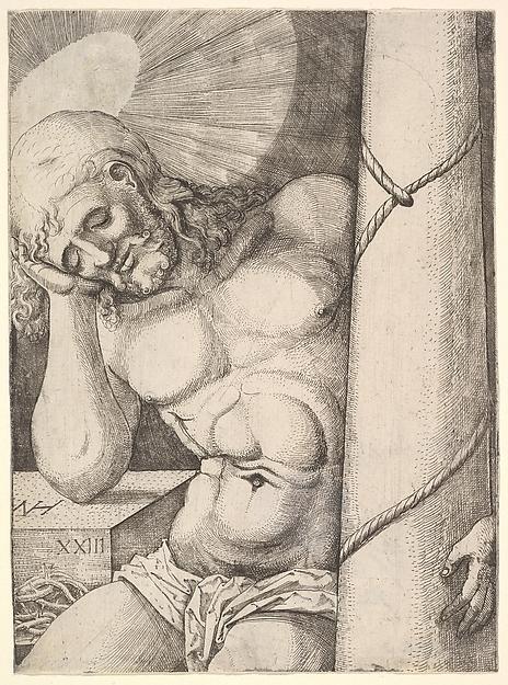 The Man of Sorrows at the Column, Nikolaus Hogenberg (Netherlandish, Munich ca. 1500–1539 Mechelen), Etching