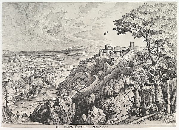 St. Jerome in the Wilderness (S. Hieronymus in Deserto) from The Large Landscapes, Johannes van Doetecum the elder (Netherlandish, active 1554–ca. 1600, died 1605), Etching and engraving