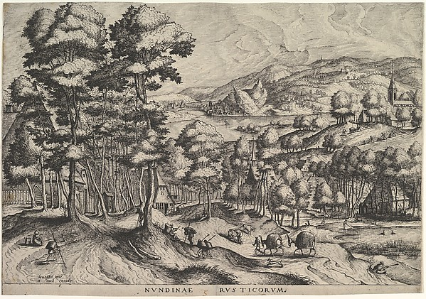 Rustic Market (Nundinae Rusticorum) from The Large Landscapes, After Pieter Bruegel the Elder (Netherlandish, Breda (?) ca. 1525–1569 Brussels), Etching with engraving; second state of three