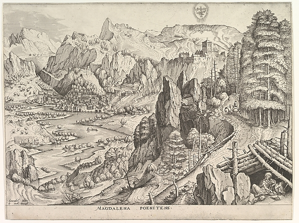 The Penitent Magdalene (Magdalena Poenitens) from the series The Large Landscapes, Johannes van Doetecum the elder (Netherlandish, active 1554–ca. 1600, died 1605), Etching with engraving; first state of two