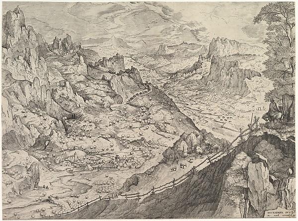 Large Alpine Landscape, Johannes van Doetecum the elder (Netherlandish, active 1554–ca. 1600, died 1605), Etching and engraving