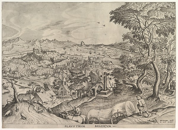 The Belgian Wagon (Plaustrum Belgicum) from The Large Landscapes, Johannes van Doetecum the elder (Netherlandish, active 1554–ca. 1600, died 1605), Etching and engraving; second state of two