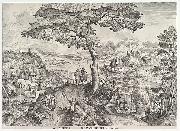 Soldiers at Rest (Milites requiescentes) from The Large Landscapes, Johannes van Doetecum the elder (Netherlandish, active 1554–ca. 1600, died 1605), Etching and engraving