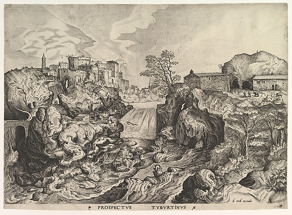View of the Tiber (Tivoli) (Prospectus Tyburtinus) from The Large Landscapes, Johannes van Doetecum the elder (Netherlandish, active 1554–ca. 1600, died 1605), Etching and engraving; second state of two